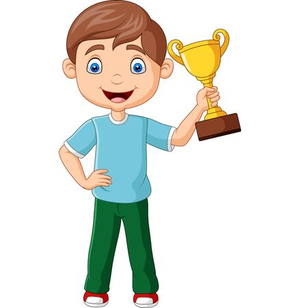 Vector illustration of Cartoon little boy holding gold trophy Фото со стока - 127906929