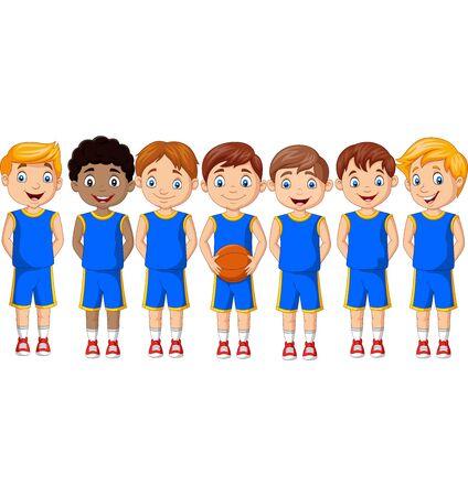 Vector illustration of Cartoon basketball kids team in uniform Фото со стока - 127908192