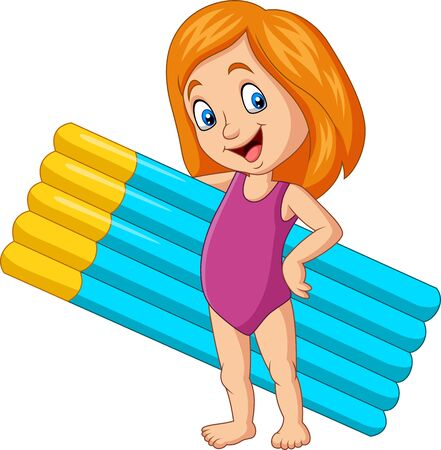 Vector illustration of Cartoon girl in a swimsuit holding inflatable mattress Фото со стока - 127908194