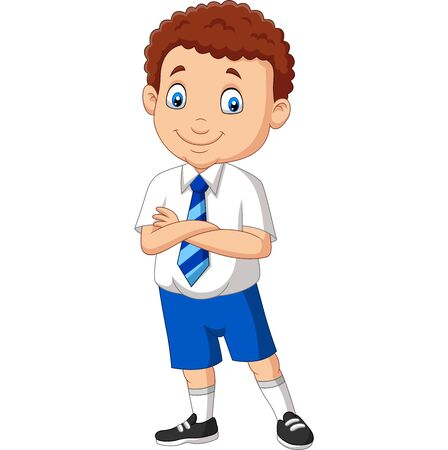 Vector illustration of Cartoon school boy in uniform posing
