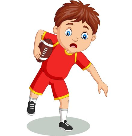 Vector illustration of Cartoon little boy playing rugby Фото со стока - 127908195