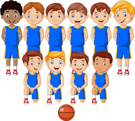 Vector illustration of Cartoon basketball kids team in uniform Фото со стока - 127908243