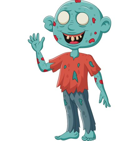 Vector illustration of Cartoon zombie stand waving on white background Фото со стока - 127908244