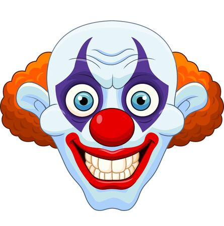 Vector illustration of Cartoon scary clown head on white background