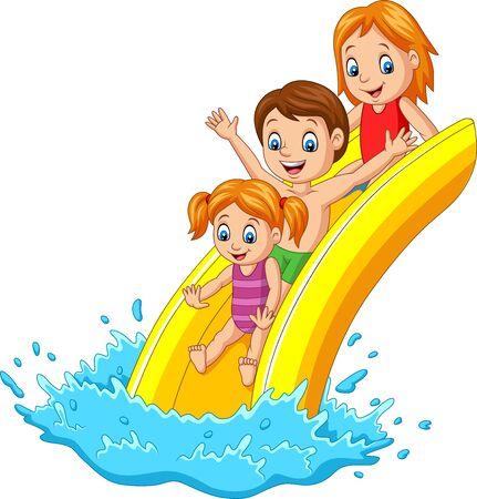 Ilustración de vector de familia feliz jugando tobogán de agua