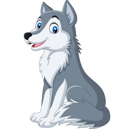 Ilustración de vector de lobo de dibujos animados sentado sobre fondo blanco