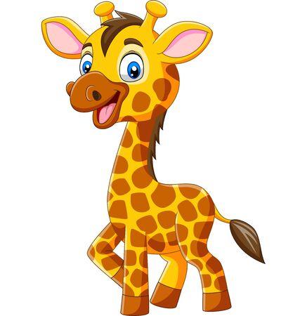 Ilustración de vector de dibujos animados de jirafa lindo aislado sobre fondo blanco