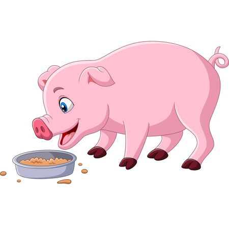 Vector illustration of Cartoon pig eating on white background Фото со стока - 128376858