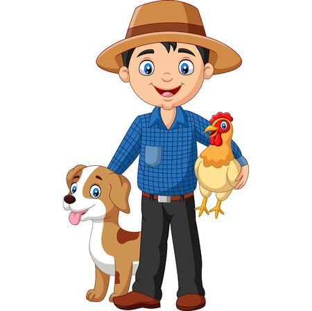 Vector illustration of Cartoon young farmer with hen and dog Фото со стока - 128376857