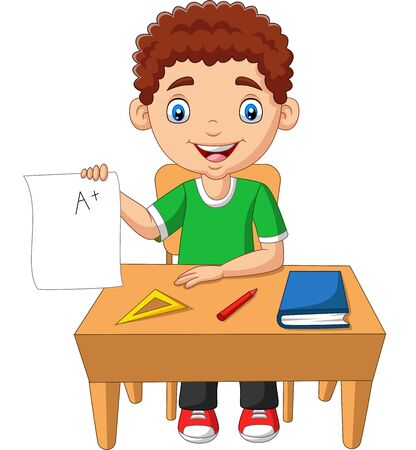 Vector illustration of Cartoon little boy holding paper with A plus grade Фото со стока - 128376877