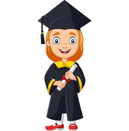 Vector illustration of Cartoon girl in graduation costume holding a diploma