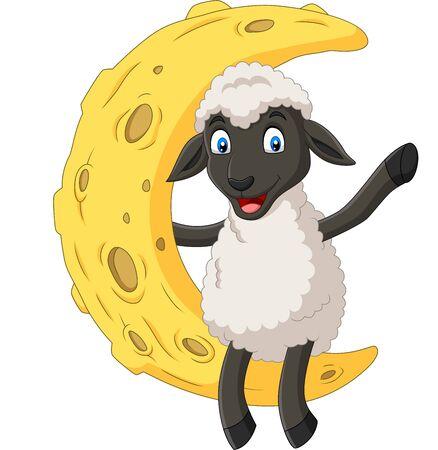 Vector illustration of Cartoon cute sheep sitting on the moon Иллюстрация