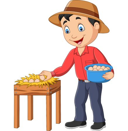 Vector illustration of Cartoon farmer holding a basket of eggs on a white background Фото со стока - 128376863