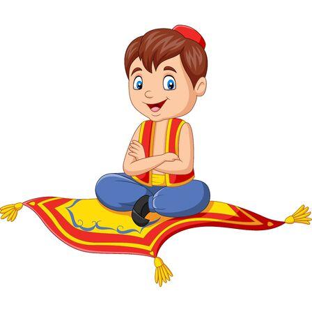 Ilustracja wektorowa Cartoon Aladdin podróżujący na latającym dywanie