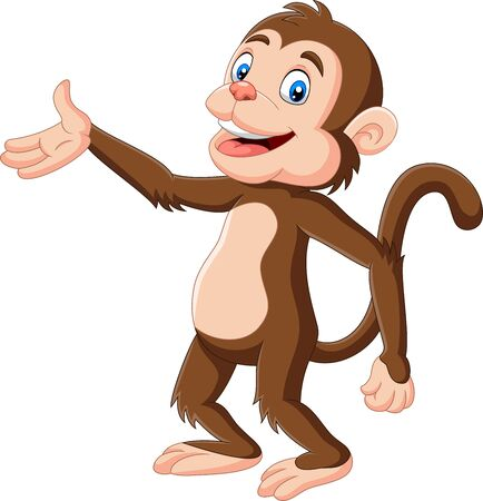 Vector illustration of Cartoon happy monkey presenting on white background Фото со стока - 128376878