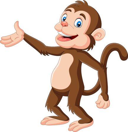 Vektorillustration des glücklichen Affen der Karikatur, der auf weißem Hintergrund präsentiert