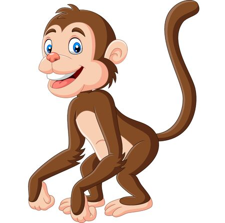 Vector illustration of Cute baby monkey cartoon on white background Фото со стока - 128376885