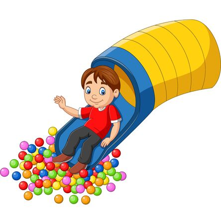 Vector illustration of Cartoon happy boy playing in the playground Çizim