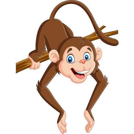 Vector illustration of Cartoon funny monkey on a tree branch Banque d'images - 128874348