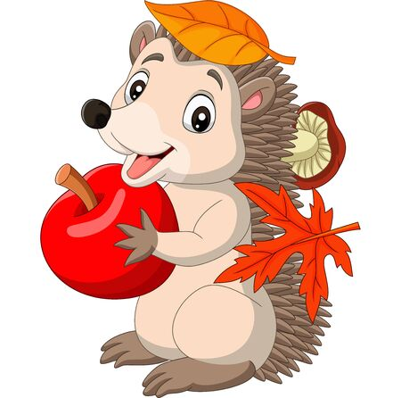Vector illustration of Cartoon baby hedgehog with red apple, autumn leaves and mushroom Illustration