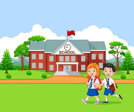 Blije kleine kinderen die naar school gaan