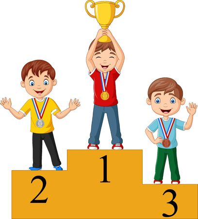 Children with medals standing on podium and holding a trophy Фото со стока - 129270446