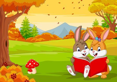 Cartoon couples of rabbits reading a book in the autumn forest