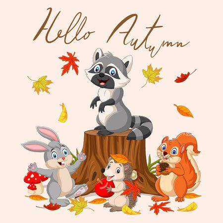 Hello autumn  with wild animals