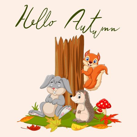 Hello autumn  with wild animals