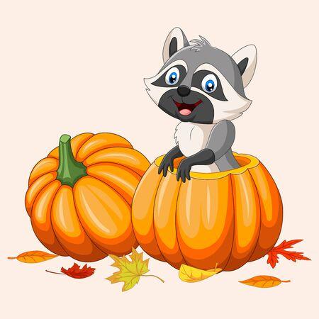Vector illustration of Cartoon happy raccoon in pumpkin basket Ilustracja