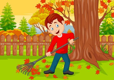 Vector illustration of Cartoon Male cleaner sweeping autumn leaves with rake