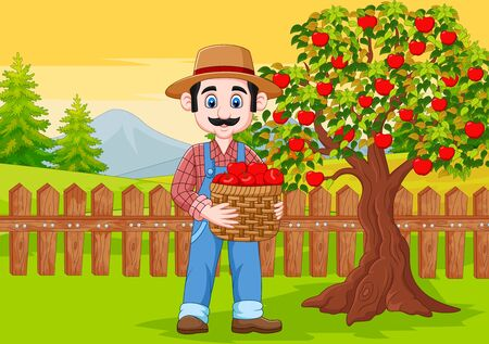 Vector illustration of Cartoon male farmer holding apple basket at the farm Illusztráció