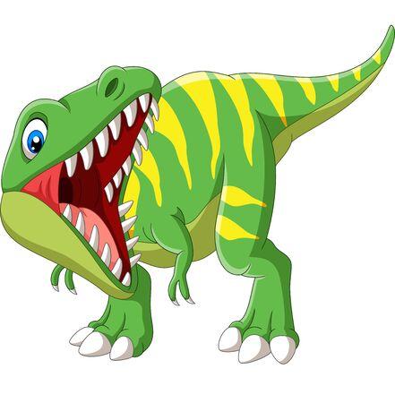 Vector illustration of Cartoon Tyrannosaurus Rex roaring on white background