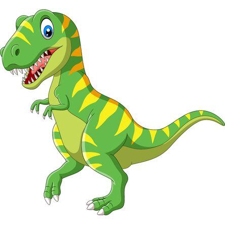 Vector illustration of Cartoon green dinosaur on white background