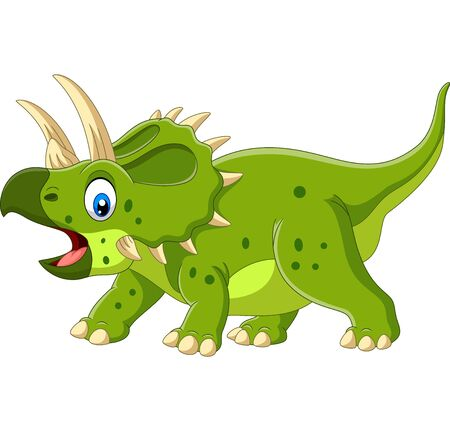 Vector illustration of Cartoon Triceratops isolated on white background