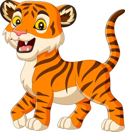 Vector illustration of Cartoon baby tiger isolated on white background