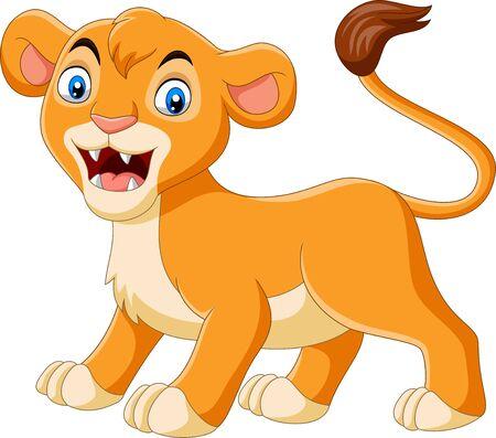 Ilustración de vector de leona de bebé de dibujos animados rugiendo sobre fondo blanco