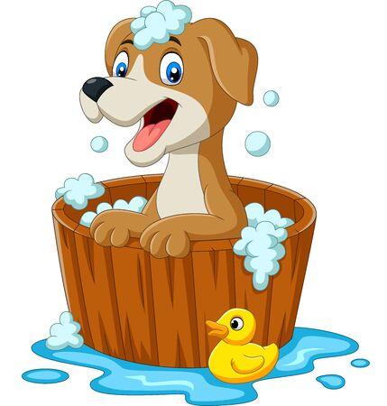 Illustrazione vettoriale di cane cartone animato che fa il bagno Vettoriali
