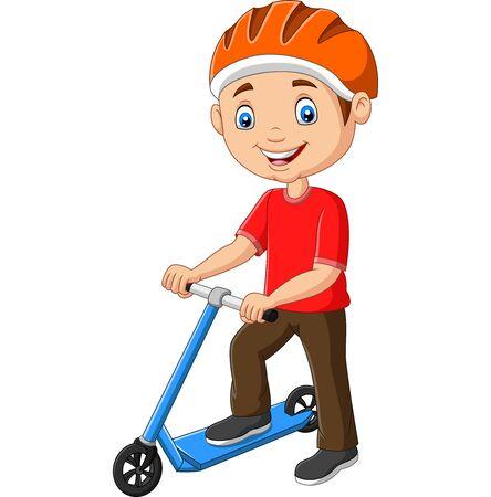 Vector illustration of Cartoon boy riding a scooter