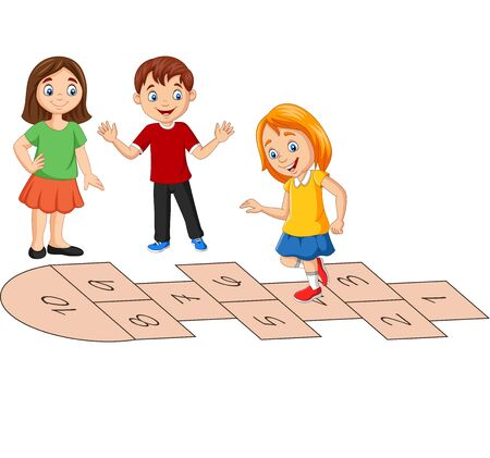 Vector illustration of Children playing hopscotch on white background Stock Illustratie