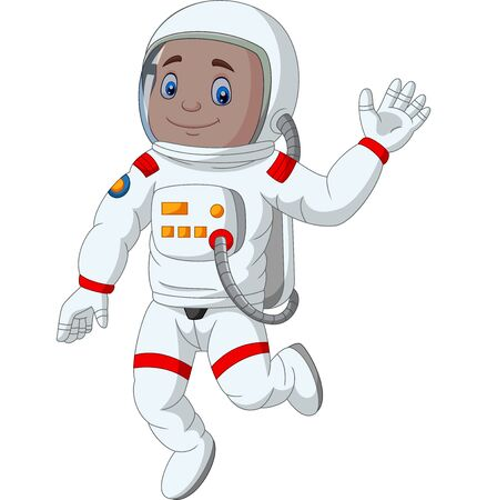 Vector illustration of Cartoon boy astronaut waving hand Ilustração