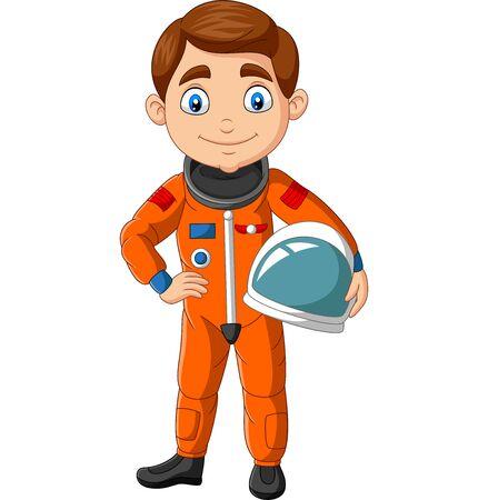 Vector illustration of Cartoon boy astronaut holding helmet
