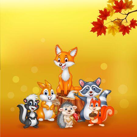 Vector illustration of Cartoon wild animals with autumn background
