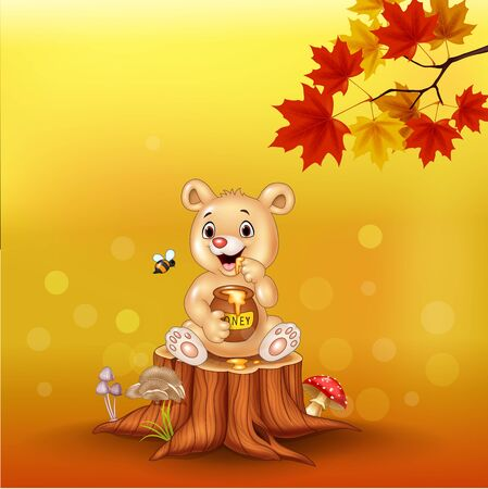 Vector illustration of Cartoon baby bear holding honey pot on tree stump