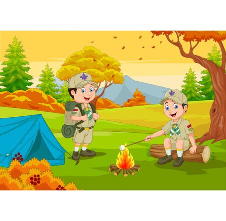 Vector illustration of Cartoon scout with tent and camp fire