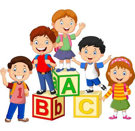Illustrazione vettoriale di scolari felici con blocchi di alfabeto