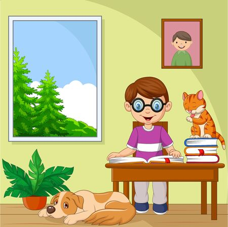 Vector illustration of Cartoon little boy studying in the room