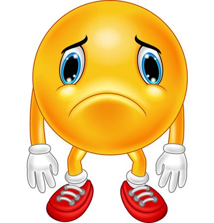 Illustrazione vettoriale di emoticon triste cartone animato su sfondo bianco Vettoriali