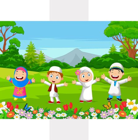 Vector illustration of Happy Muslim Kids playing in the park Stock Illustratie