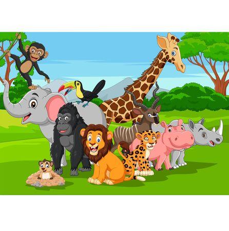 Vector illustration of Cartoon wild animals in the jungle